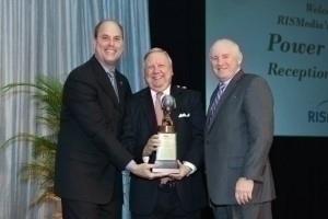 Jack Kreider, VP of Region Development for RE/MAX LLC, sponsors of the 2014 'On the Shoulders of Giants' Award, award winner,  Houston Association of Realtors' Bob Hale, and RISMedia President & CEO John Featherston