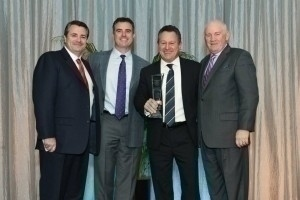 Buffini & Company Chairman & Founder Brian Buffini, and CEO Dermot Buffini, sponsors of RISMedia's 2014 Real Estate Leadership Award, with award winner Gino Blefari, CEO of HSF Affiliates LLC, and RISMedia President & CEO John Featherston