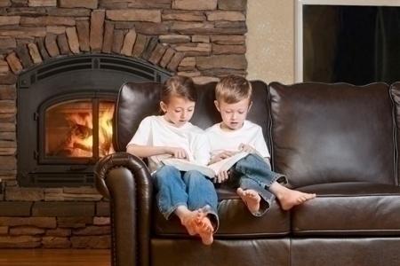 Children Reading by the Fireside