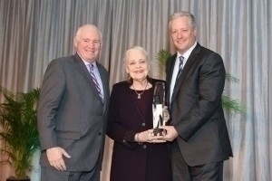 RISMedia's John Featherston, 2014 National Homeownership Award Winner, Ebby Halliday, REALTORS' Mary Frances Burleson, and Tim Owens, retail sales executive for award sponsor Bank of America Home Loans
