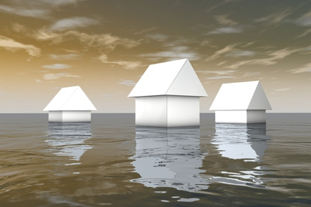 3d white houses under water, natural catastrophes abstract illus