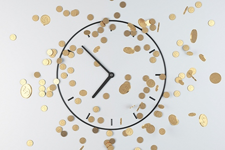 coins and clock, 3d render