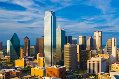 Dallas skyline aerial / elevated view