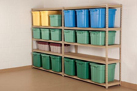 Storage Containers on Shelf
