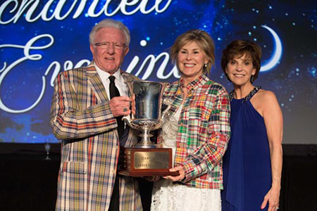 (L to R): Don Walston, founder and chairman of Coldwell Banker Howard Perry and Walston (CBHPW) and Nancy Harner, senior vice president of Relocation/Corporate Services for CBHPW, accepted the prestigious Cartus Masters Cup award from Lydia Collins, southeast regional director for Cartus Broker Services.