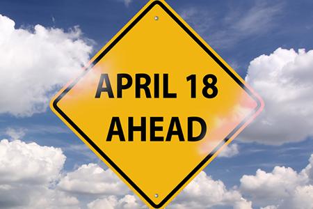 Tax day ahead warning sign