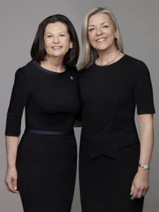 (L) Ellie Johnson, President, Berkshire Hathaway HomeServices New York Properties; (R) Candace Adams, CEO, Berkshire Hathaway HomeServices New England and Westchester Properties