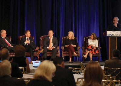 RISMedia CEO Exchange 2016: Top broker panelists during 'Training and Coaching: Finding the Right Formula for Your Firm' (from left to right): CB Advantage's Gary Rabon; Engel & Völkers Minneapolis' Geoffrey Bray; Keller Williams' Rick Cunningham; ERA Central Realty Group's Stephanie Bellanova; Coach Real Estate's Whitney Finn LaCosta; and moderator Jose Perez, vice president of Proxio
