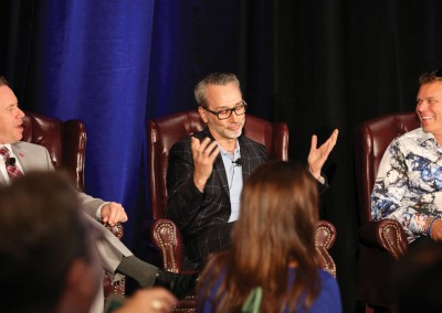 RISMedia CEO Exchange 2016: From left to right: HomeSmart Professionals' Dean deTonnancourt; Compass' Leonard Steinberg; and BHHS Ambassador's Vince Leisey discuss 'The Evolution of the Real Estate Model.'