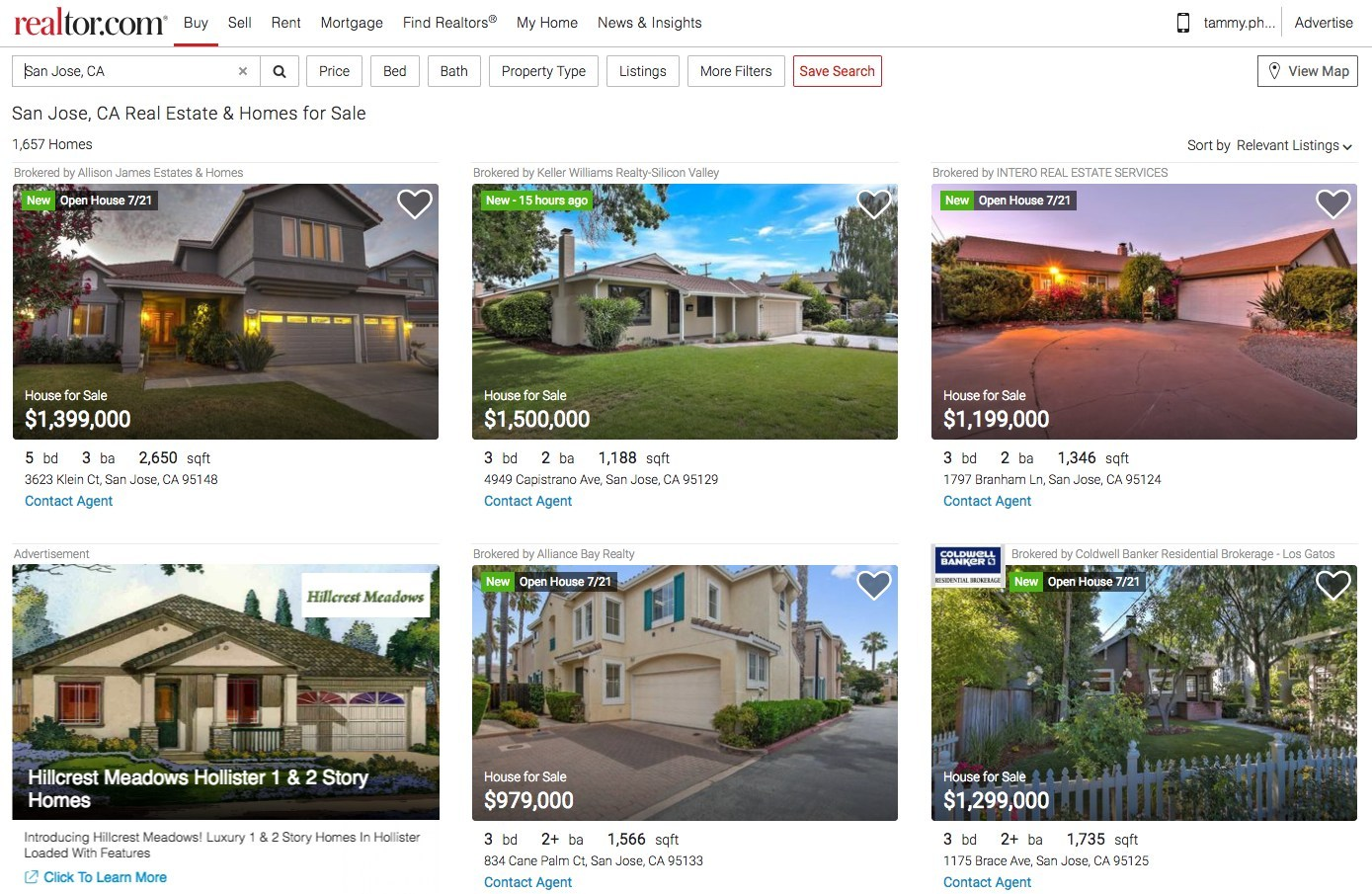 Realtor.com's new desktop experience shows you five properties at first glance, allowing you to see when the listing was added to the site as well as any open houses. (PRNewsfoto/realtor.com)