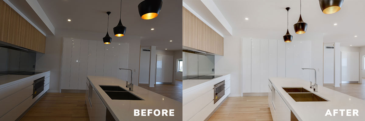 Transform interior shots like this kitchen with image enhancement.