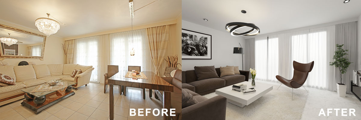 An agent virtually renovated an outdated living room to help the buyer visualize how the space could look.