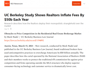 UC Berkeley Study Shows Realtors Inflate Fees By $50b Each Year